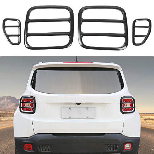 JeCar Strong Iron Tail Light Covers Rear Taillight Guard for Jeep Renegade 2015-2018 (Taillight Cover-Black)