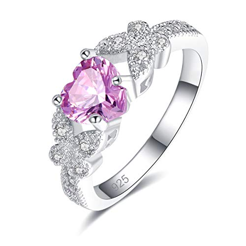 Psiroy 925 Sterling Silver Heart Shaped Created Pink Topaz Filled Butterfly Ring for Women Size 7
