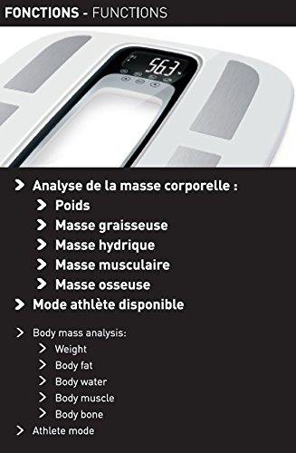 Terraillon 13348 P/èse personne /Électronique blanc//noir 32,5 x 32,5 x 2,5 cm