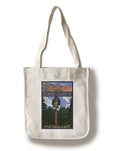 Lantern Press Kings Canyon National Park, California - Sequoia Tree and Mountain Range (100% Cotton Tote Bag - Reusable)