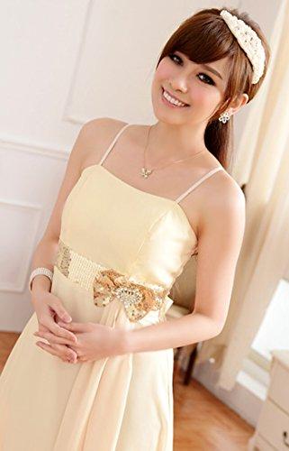Chiffon BININBOX lang Festkleid Riemenkleid Abendkleid Schleife Ballkleid mit Elegant Cocktailkleid Champagnerfarbe Damen rRqZwER