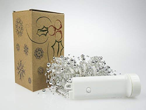 Battery Operated Silver Beads with Green LED String Lights, Christmas Lights, Party Lights