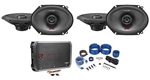 (4) ALPINE R-S68 300 Watt 6x8 Car Audio 2-Way Speakers+4-Channel Amplifier