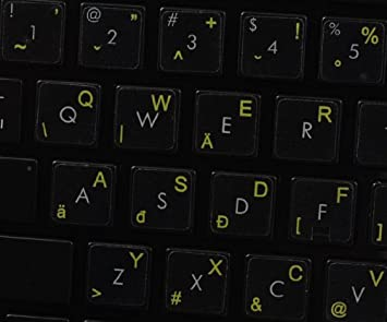 White OR Yellow Lettering Orange Hungarian Keyboard Labels Layout ON Transparent Background with Blue RED Red 14X14