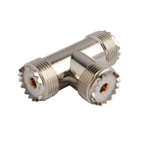 1x VHF UHF SO-239 Jack Female to Female to Female Tee Coaxial Connector Adapter