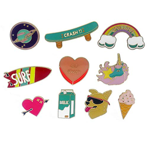 - WINZIK Cartoon Lapel Pins Set 10Pcs Cute Dog Ice Cream Rainbow Brooch Badges For Women Children Clothing Backpacks Decor