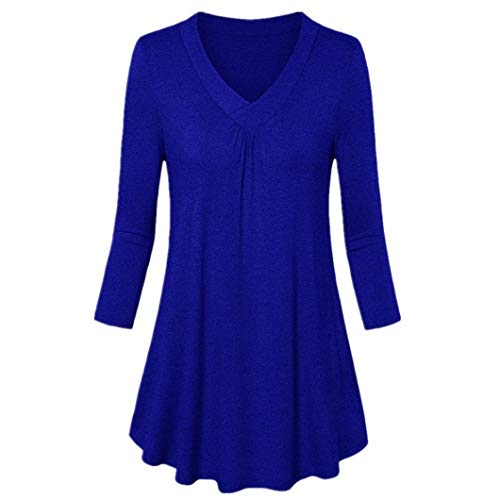 (Henleys,Toimoth Womens Fashion Plus Size Solid Long Sleeve V-Neck Pleated T-Shirt Tops Blouse Tunics(Blue,2XL))