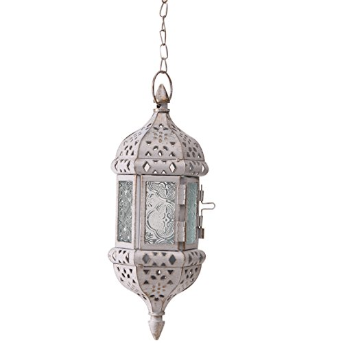 HUAHOO 1 pc Moroccan Style Antique Candle Lantern Off White Hanging Candle Lantern Mystical Decorative Metal Glass Candle Lantern Light Contain 40cm Chain