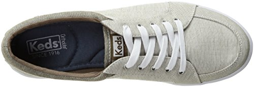 Stone Keds Womens Volks Chambray Railroad Stripe Fashion Sneaker Stone