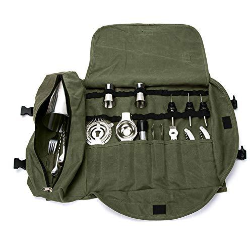 (Bartender Kit Bag for Men, Heavy Duty Bar & Wine Tools Bag, Portable Bar Case bag for Travel, Professional Bartender Kit Tote Bag, Portable Large Bar Sets Roll Bag, Grey GJB309)