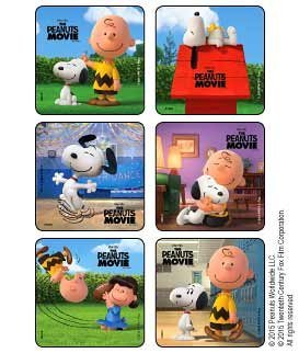 The Peanuts Movie Stickers (Pack of 30) Great Party Favor Treat Sack Birthday (Movie Party Treat Sacks)