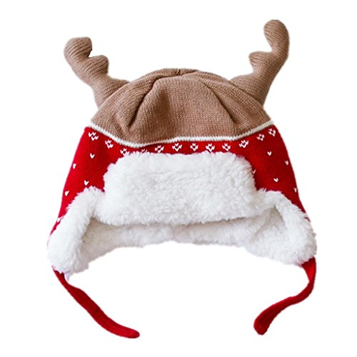Connectyle Kids Warm Winter Hats with Earflaps Christmas Hats Beanie Hat Moose Antlers Hat