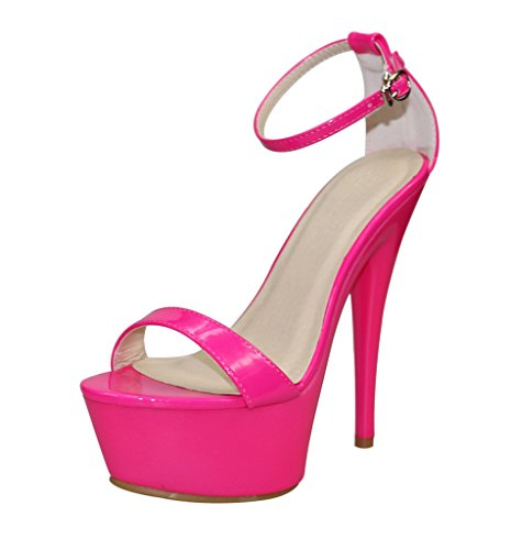 Women's Ankle Strap Open Toe Platform High Heel Sandals rose patent pu Oiu4JO