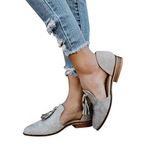 vermers Hot Sale Women Autumn Shoes Ladies Fashion Ankle Solid Tassels Leather Romon Single Shoes(US:8.5, Gray) by vermers
