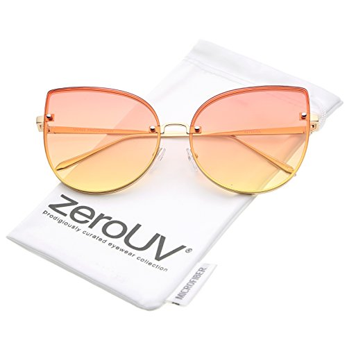 zeroUV - Women's Oversize Slim Metal Rimless Gradient Flat Lens Cat Eye Sunglasses 61mm (Gold / (Gradient Yellow Lens)