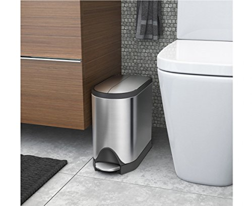 simplehuman 10 Liter / 2.6 Gallon Butterfly Lid Bathroom Step Trash Can, Brushed Stainless Steel With Grey Trim