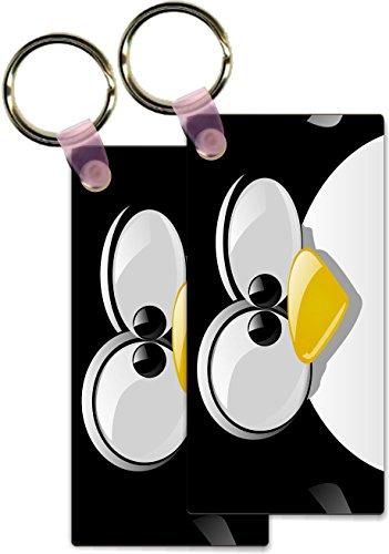 Rikki Knight Penguin Cartoon Face Design Rectangle Shape Key Chains - Identifier Tags (Set of - Shape Face Rectangle