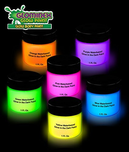[Glominex AH921 Glow in the Dark Body and Face Paint 1oz Jars - Assorted Colors 6ct] (Body Central Halloween Costumes)
