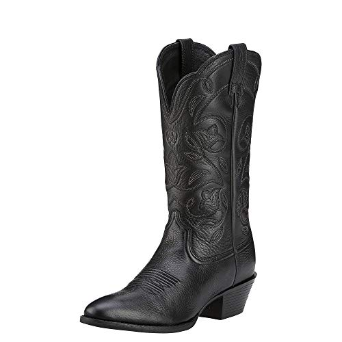 (Ariat Women's Heritage Western R Toe Western Cowboy Boot, Black Deer Tan, 10 B US)