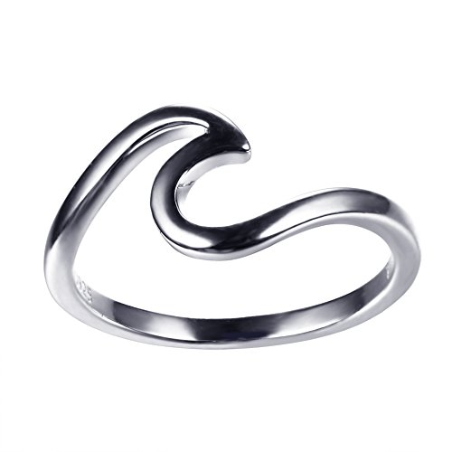 (JunXin 925 Sterling Silver Wave Ring Specifically for The Girls All, Let her Show Unlimited Scenery Size 7)