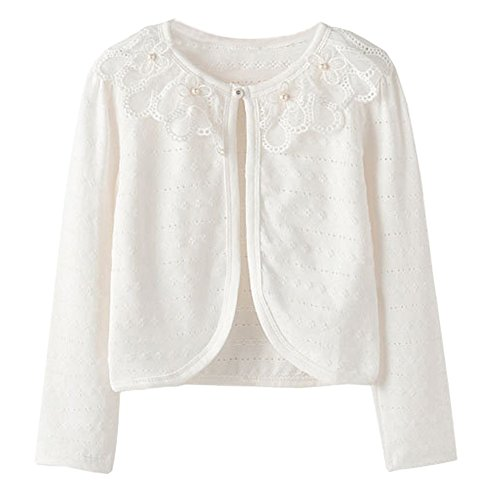 (ZHUANNIAN Little Girls Shrug Bolero for Dresses Long Sleeve Pointelle Cardigan(6-7,Ivory))