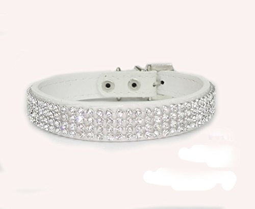 (haoyueer Cute Dazzling Sparkling Elegant Fancy Crocodile PU Leather Bling Rhinestone Crystal Jeweled Pet Cat Dog Puppy Collar(White,S))