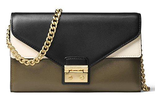 MICHAEL Michael Kors Sloan Color-Block Leather Large Chain Wallet Crossbody Bag, Olive Black (Chain Bag Leather Shoulder Black Link)