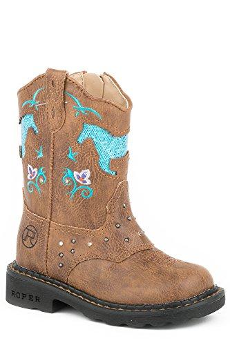 Saddle Womens Roper - Roper Girls' Horse Flowers, tan, 8 M US Toddler
