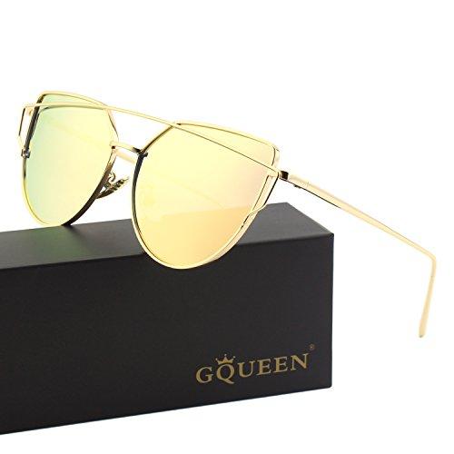 GQUEEN Cat Eye Mirrored Flat Lenses Street Fashion Metal Frame Polarized Sunglasses for Women,Gold - Glasses Gazel
