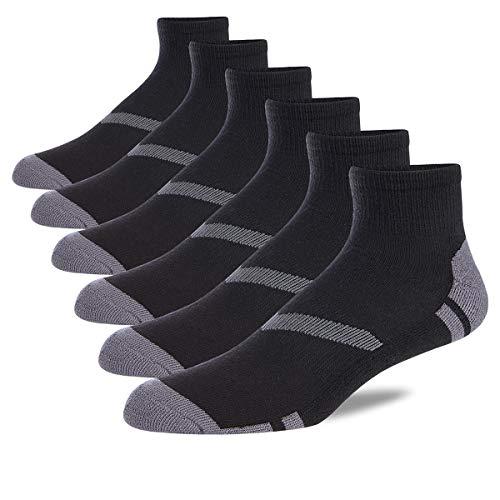 COOVAN Mens Athletic Ankle Quarter Socks Men Cushion Moisture Wicking Running Work Sock 6 Pack