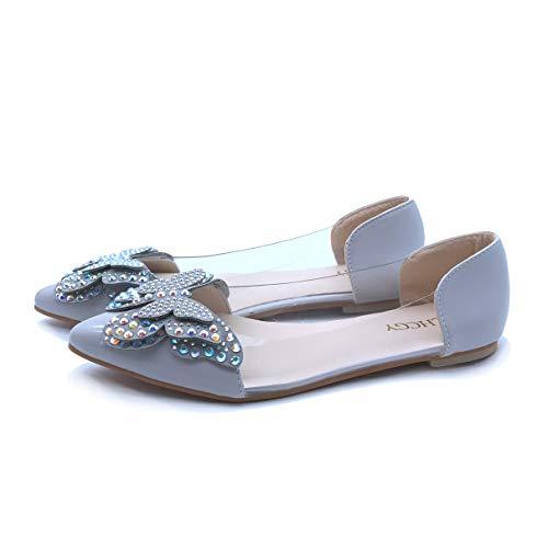 Owen Moll Women Flats, Cute Slip-on Pointed Toe Crystal Butterfly Ballet Dress Shoes