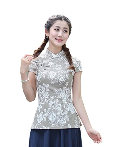 Chinese Store Clothing (Shanghai Story Women's Linen Tang Suit Chinese Cheongsam Shirt Blouse Top 3XL 3)