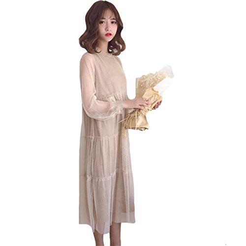 de Gaze Jupe de MiGMV Manches Longue Longue 2018 pour Femmes Vtements Robe mi Robes Longues Doublure Robe avec qxOgptZx