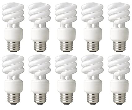 TCP 68914B10 CFL Mini Spring A Lamp - 60 Watt Equivalent (only 14W used) Soft White (2700k) Spiral Light Bulb - 10 pack - - Amazon.com