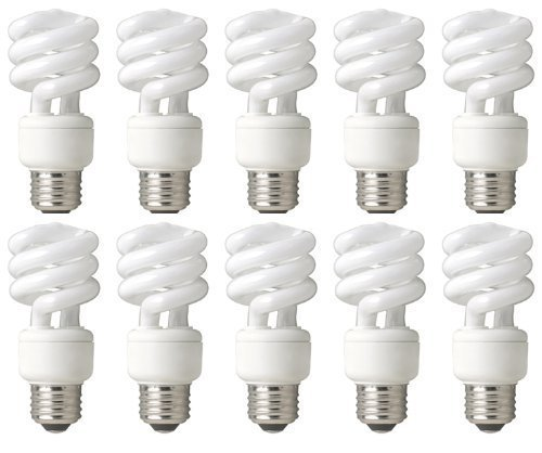 TCP 68914B10 CFL Mini Spring A Lamp - 60 Watt Equivalent (only 14W used) Soft White (2700k) Spiral Light Bulb - 10 pack