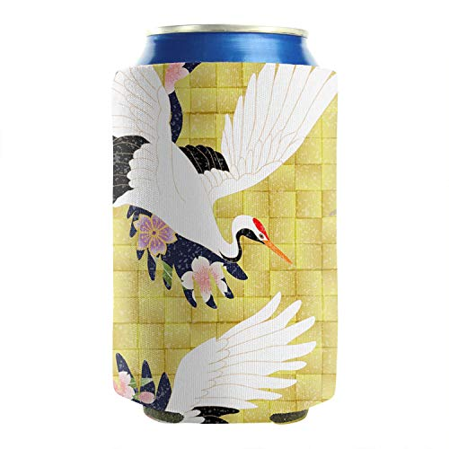 2-Pack Durable Collapsible Fully Stitched Insulated Bottles Holder Neoprene Beverage Coolers Fit 12 oz Red-Crowned Crane In The Flowers Cold Drink Soda Water Beer Can Sleeve Covers -