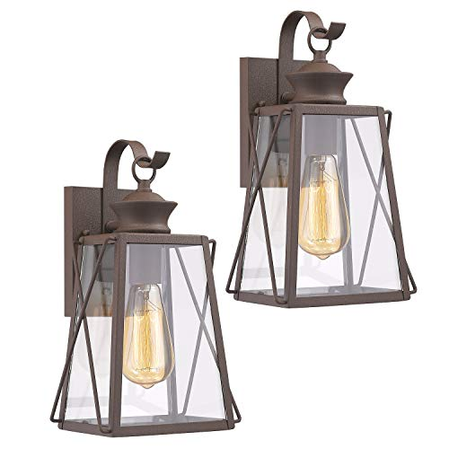 Emliviar Outdoor Wall Light Fixtures 2 Pack, Porch Light in Rustic Finish with Clear Glass Shade, 1810-CW1-2PK ()