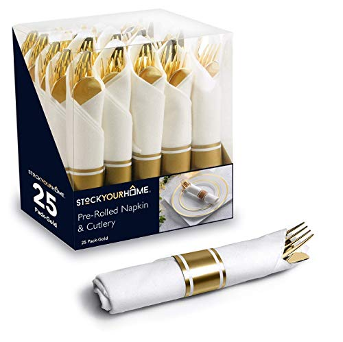 75 Pieces Disposable Gold Pre Rolled Napkin and Cutlery Set, Heavy Duty Plastic Silverware, 25 Forks, 25 Spoons and 25 Knives in Rolled Napkins for Catering Events, Parties, and Weddings