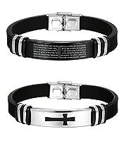 Jstyle Jewelry 2 Pcs Men's Stainless Steel Religious Black Rubber Cross Bracelet