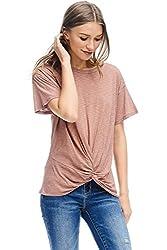 Alexander David Womens Short Sleeve Slub Knot Top Casual Basic T Shirt Blouse Rust Medium