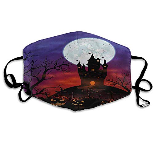 Halloween Fashion Mouth Mask Haunted Castle for Cycling Camping Travel W4