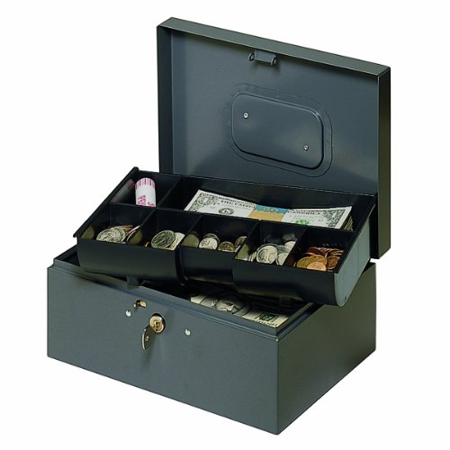 MMF Cash Drawer Steel Cash Box with Safety Latch and Rece...