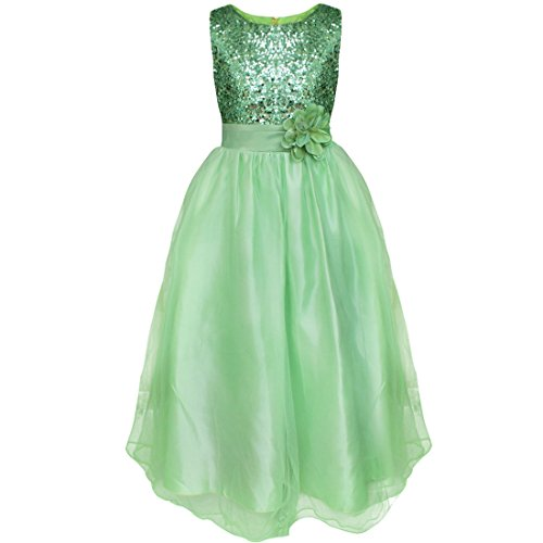 YiZYiF Kids Girls Sequined Wedding Dress Bridesmaid Formal Christmas Party Gown Green 4-5 (Toddler Fancy Dress)