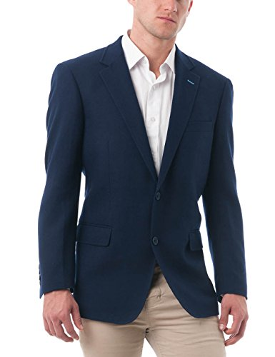 Navy Wool Sport Coat - Chama Men's Two Buttons Navy Blue & Black &Light Grey Wool Blend Classic Fit Casual Sports Blazer Jacket with Notch Lapel (Navy, 50L)