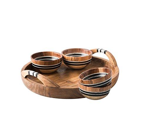 Juliska Stonewood Stripe 5 Piece Appetizer Set Tray & 4 Bowl