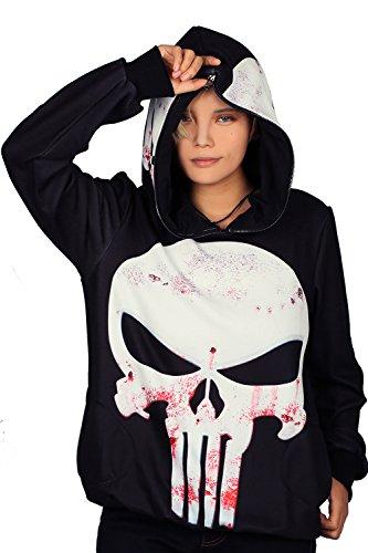 [Xcoser Punisher Hoodie Cosplay Costume for Halloween Pullover Full Zip Hood XL] (Punisher Cosplay Costume)