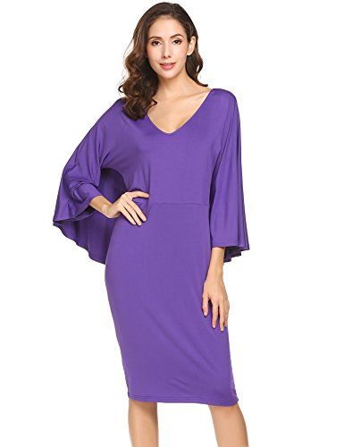 Zeagoo Women Elegant V Neck Batwing Sleeve Bodycon Evening Dress Wine Purple M