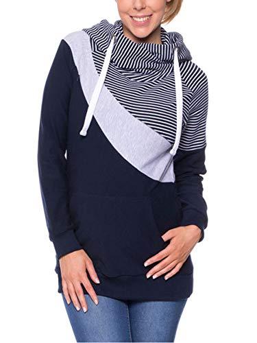 MARI CIAS Women Zipper Front Maternity Nursing Tops Long Sleeve Sweatshirt Pullover Hoodie (Stripe, ()