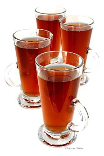 Clear Glass Mug Irish Glasses 9oz Iced Coffee Cups Tea Mugs (Footed Coffee Mug Set)