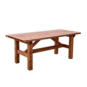 Estrucmader mesa r stica de madera maciza de2 45m color cerezo jard n - Amazon mesas de jardin ...
